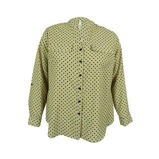 NY Collection Women's Tab Sleeve Polka Dot Blouse