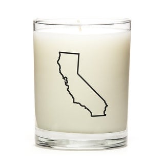 Custom Candles with the Map Outline California, Fresh Linen