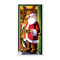 Club Pack of 12 Winter Wonderland Themed Santa Claus Door Cover Party Decorations 5'