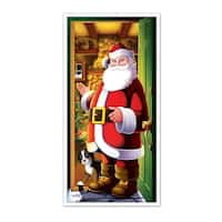 Club Pack of 12 Winter Wonderland Themed Santa Claus Door Cover Party Decorations 5' - multi