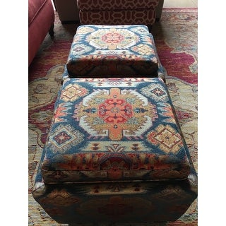 Madison Park Allison Red Multi Square Storage Ottoman with 2 Pillows