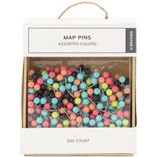 Map Pins; 300/Pkg - Push Pins Multicolor