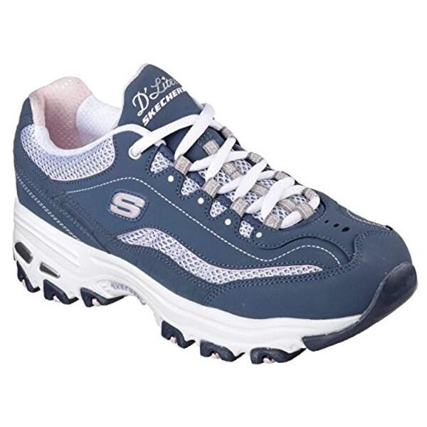 Skechers D'lites Life Saver NavyWhite Womens Fashion Sneaker Size 7W