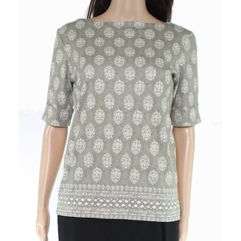 Karen Scott Women's Knit Top Green Size XS Paisley Print Roll-Tab