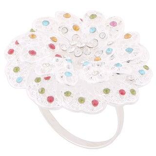 Home Metal Flower Decor Dinner Napkin Serviette Tissue Holder Ring Loop Hoop