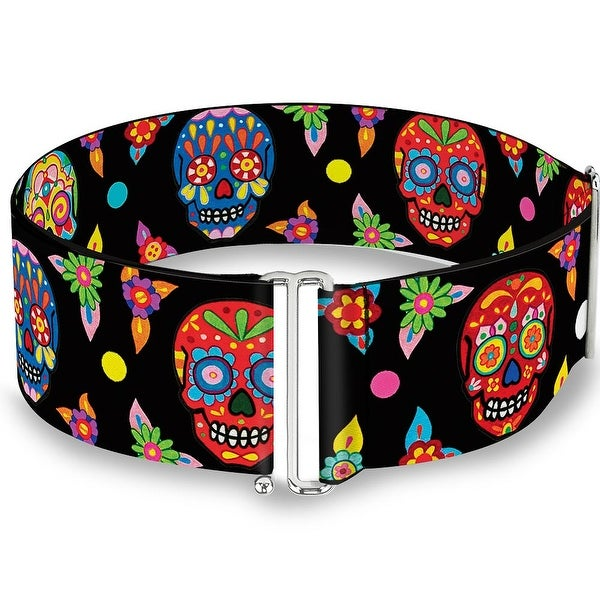 Colorful Calaveras Black Multi Color Cinch Waist Belt ONE SIZE