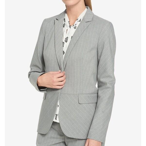 Tommy Hilfiger White Womens Pinstriped Blazer Jacket