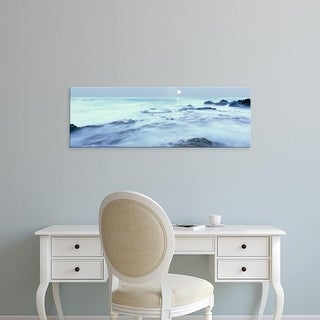 Easy Art Prints Panoramic Image 'Full moon over Baja California coast, Las Rocas, Baja California, Mexico' Canvas Art
