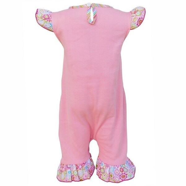 AnnLoren Baby Girls Pink Flower Print Easter Bunny One Piece Romper