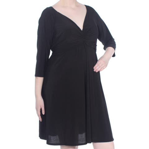 LOVE SQUARED Womens Black Knotted 3/4 Sleeve Above The Knee Cocktail Dress Plus Size: 2X