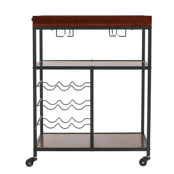 3 Tier Trolley Cart Kitchen Island Industrial Serving Bar Cart w// Glass Holder
