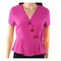 Hiatus Purple Women Size Large L  Surplice Neck Button-Detail Top