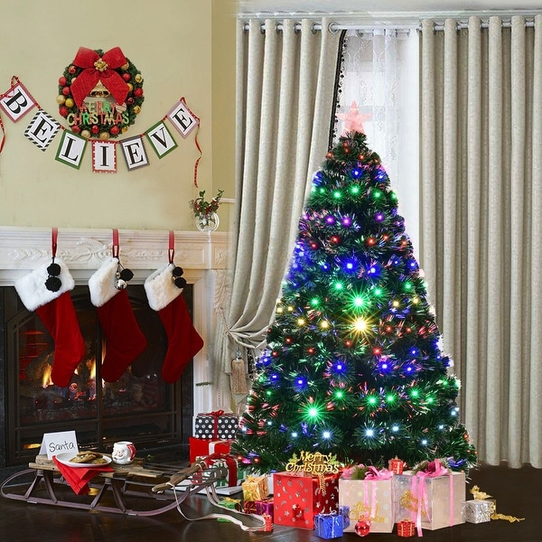 Costway 5' Pre-Lit Fiber Optic Artificial Christmas Tree w/Multicolor