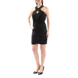 CRYSTAL DOLLS Womens New 2641 Black Beaded Ruched Body Con Dress 11 Juniors B+B