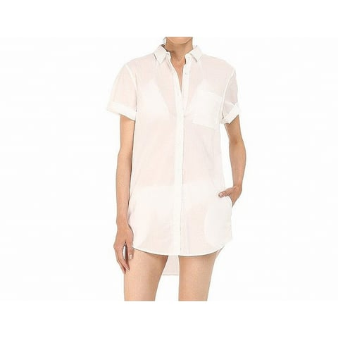 Onia Womens Swimwear White Size Large L Cover-Up Pocket Shirt Dress