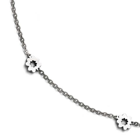 Chisel Stainless Steel Polished Flowers extension Anklet (1 mm) - 9 in