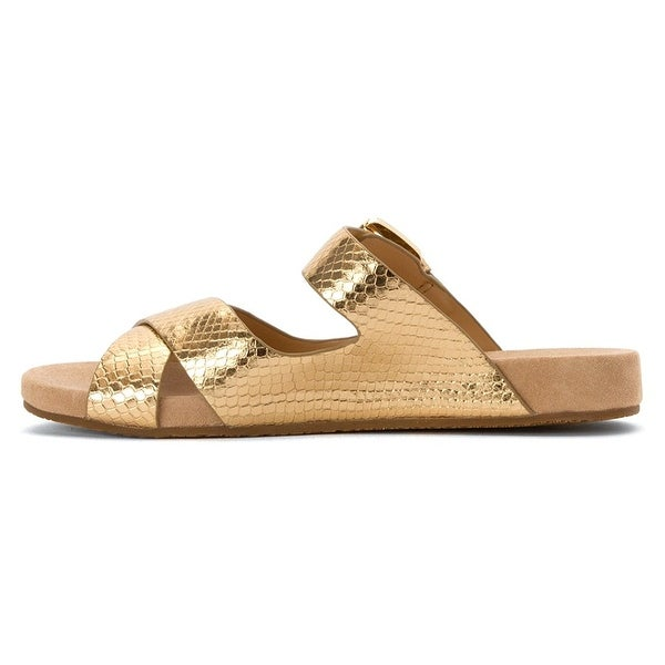MICHAEL Michael Kors Womens Sawyer Slide Leather Open Toe Casual Slide Sandals