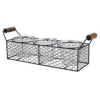 """Pack of 6 Decorative Clear and Brown Containers with Wire Caddy 4.5"""""""