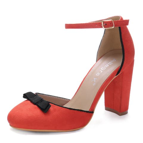 Women Round Toe Bow Decor Block Heel Ankle Strap Pumps