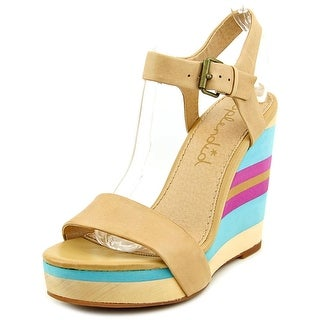 Splendid Kikka Women Open Toe Leather Nude Wedge Sandal