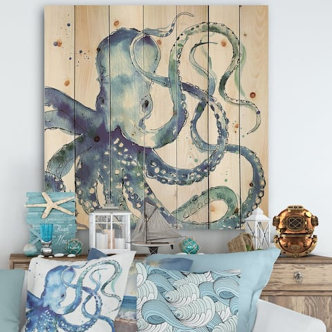 Designart 'Blue Deep Sea VIII' Coastal Print on Natural Pine Wood - Blue