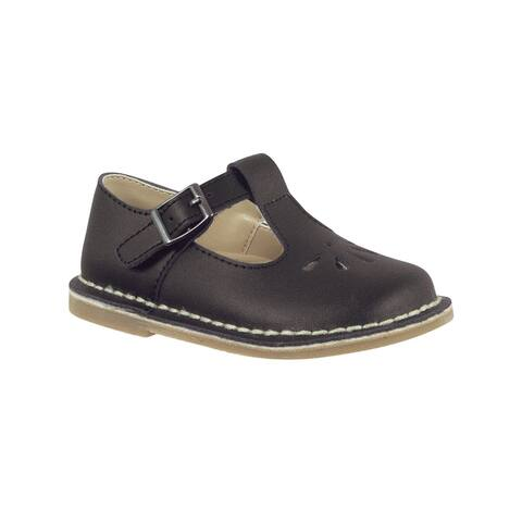 Baby Deer Girls Black Leather T-Strap Perforation Crepe Outsole Shoes