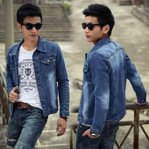 Korean Men's Denim Jacket Lapel