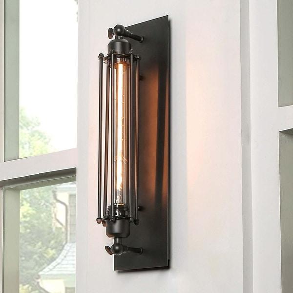 "Carbon Loft Modern 1 Light Flush Mount Wall Light Black Wall Sconces - W5"" x E5.5"" x H18.5"". Opens flyout."