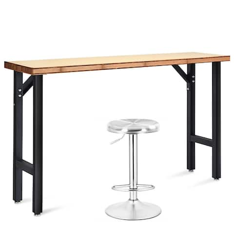 Costway 65' Bamboo Workbench Table Garage Workstation w/Stainless