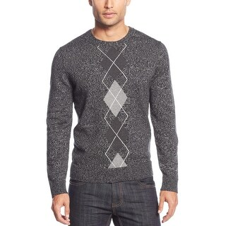 INC International Concepts Mens Argyle Crewneck Sweater Deep Black Marled