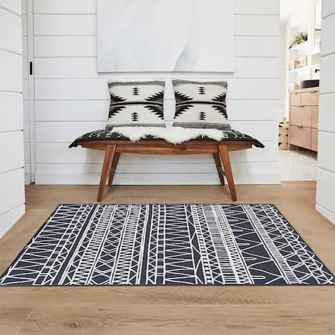 My Magic Carpet Machine Washable Rug Chelsea Tribal Aztec Dark Grey