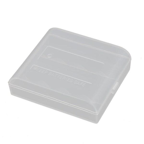 63mmx53mmx18mm Hard Plastic Battery Storage Case Holder Organizer Transparent