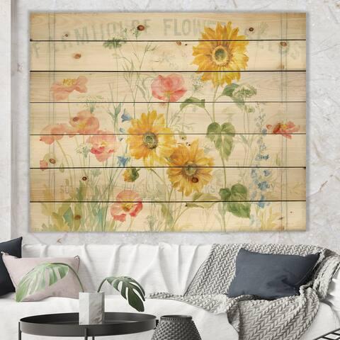 Designart 'Floursack Florals I' Natural Pine Wood Print - Multi-color