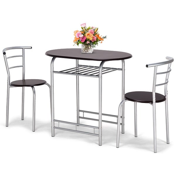 Shop Costway 3 Pcs Bistro Dining Set Table And 2 Chairs Kitchen Pub