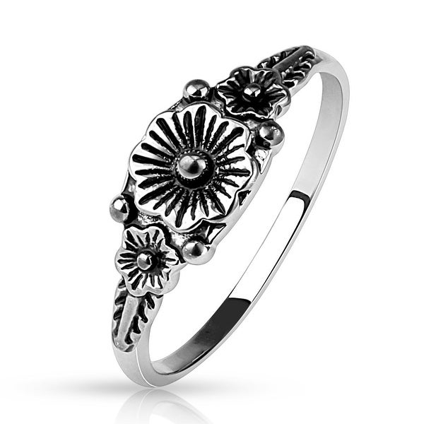 Triple Flower Cast Ring/Mid Ring (Sold Ind.)