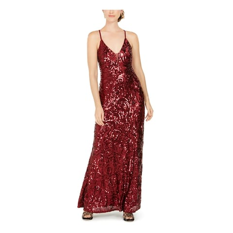 NIGHTWAY Womens Red Sleeveless Maxi Sheath Evening Dress Size 6