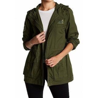 Abound NEW Olive Dark Green Women Size XXS Hooded Military Zip-Up Jacket