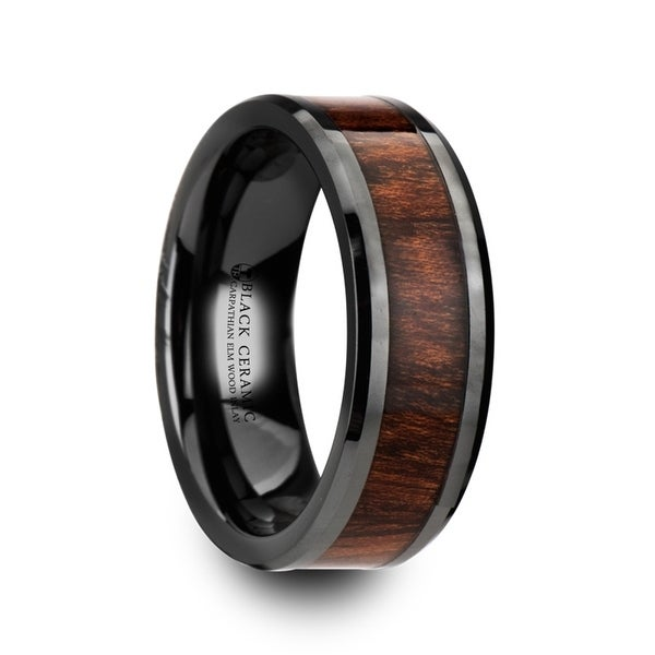 THRACIAN Carpathian Wood Inlaid Black Ceramic Ring with Bevels & 8mm