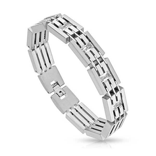Princess Cut CZs Paved Fence Links Stainless Steel Bracelet (14 mm) - 8.25 in