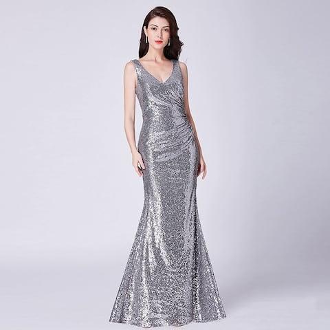 c591b2b3c98 Ever-Pretty Women s Mermaid Pleated Waist Sequin Evening Party Cocktail  Dress 07405