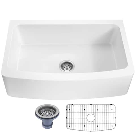 ANZZI Mesa Matte White Solid Surface Farmhouse 33 in. Single Bowl Kitchen Sink with Strainer