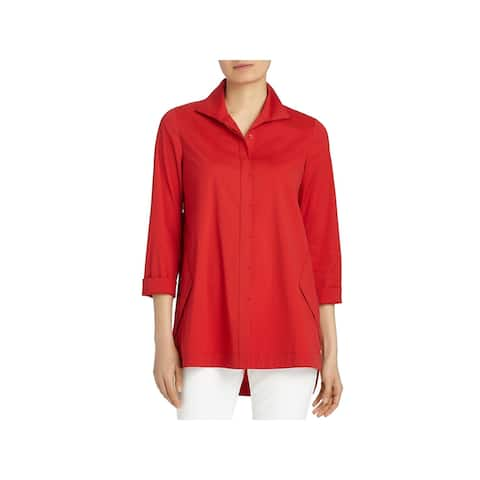 Lafayette 148 New York Womens Marla Button-Down Top Hi-Low Everyday - P