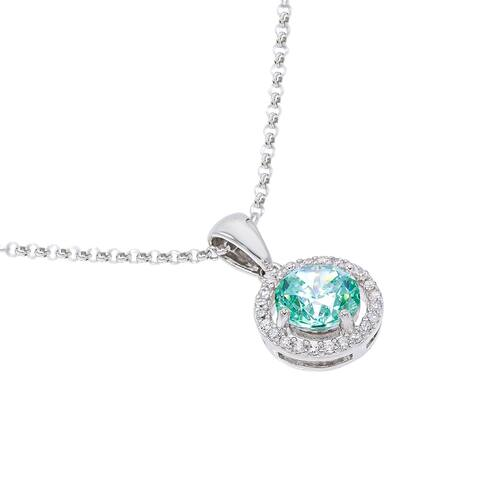 Round-Cut Halo -Simulated Cubic Zirconia Necklace, Sterling Silver
