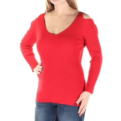 CATHERINE MALANDRINO Womens Red Long Sleeve Scoop Neck Top Size: M