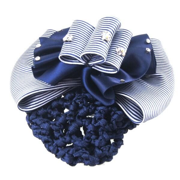 Unique Bargains Unique Bargains Polyester Flower Stripe Bowknot Hair Pin w Blue Nylon Hairnet