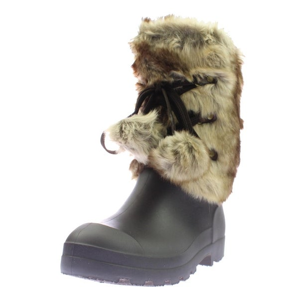 Dirty Laundry Womens Picca Rain Boots Faux Fur Mini Wedge