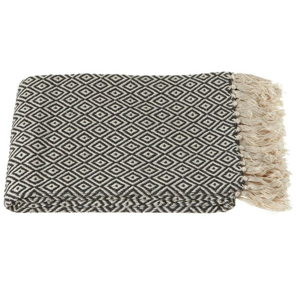 "Set of 2 Charcoal Gray and Cream Diamond Throw Blankets with Fringe Border 50"" x 60"""