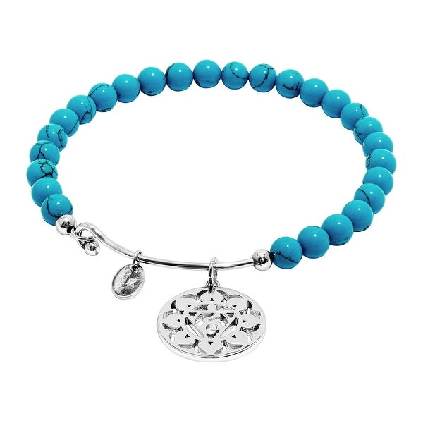 Chrysalis 'Throat' Created Turquoise Charm Bangle Bracelet in Rhodium-Plated Brass - Blue