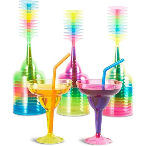 36 Plastic Margarita Cocktail Beverage Glasses, Neon Blue Green Pink Yellow 12oz - 12 Oz