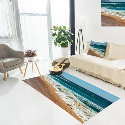Designart 'Ideal Blue Atlantic Beach in Summertime' Seashore Area Rug